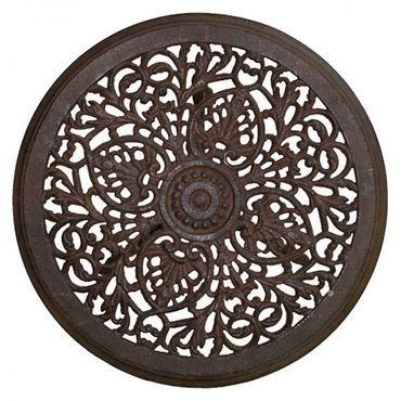 Antique round garden tables in brown of cast iron  – image 3