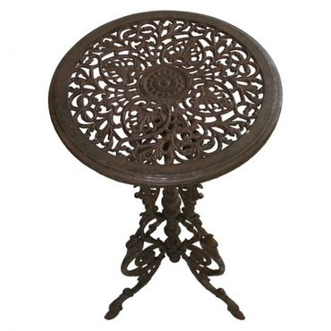 Antique round garden tables in brown of cast iron  – image 5