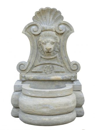 Antique Lion head motif fountain wall with basin in stone sculpture for garden decoration