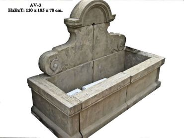 Arch shape stone sculpture of fountain wall with basin and sink for decoration of garden and terrace