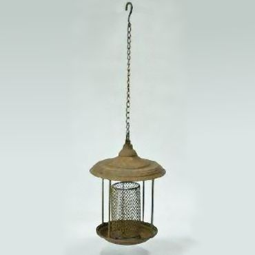 Bird feed silo station chain hanging metal antique style feeding place birdseed
