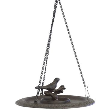 Bird table as birdbath made of iron cast for hanging in balcony terrace or garden – image 1