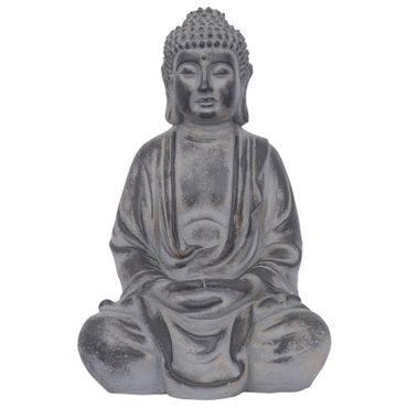 Buddha figure in sitting position meditating Feng Shui decorative for terrace balcony or garden in stone casting – image 1