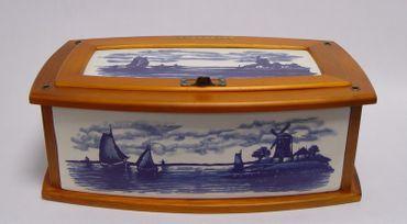 Storage box porcelain wood blue decoration