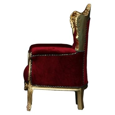 Children Trône Deep Red Velvet and Golden Solid Wood Frame – image 3
