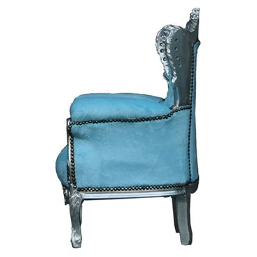 Cool Blue Velvet Child Throne Silver Wooden Frame Baroque Furniture – image 3