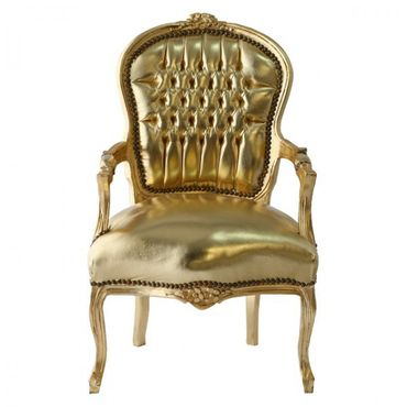 Salon armchair, Accents Chair, antique style side chair gold faux-leather – image 1