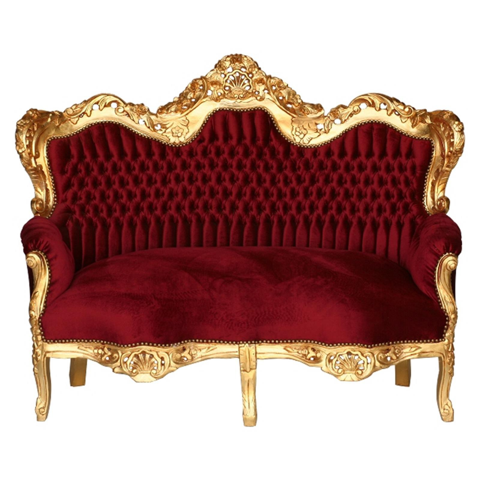 Merveilleux 3 Seater Sofa Deep Red Velvet Golden Carved Wood Frame U2013 Bild 1