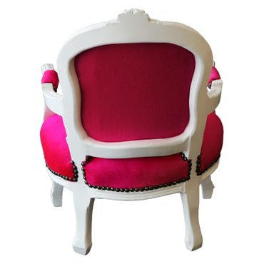 Fun Bright Pink & White Child Armchair Baroque Style Living Room Furniture – image 4