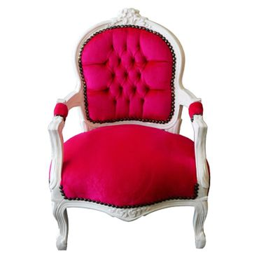 Fun Bright Pink & White Child Armchair Baroque Style Living Room Furniture – image 1
