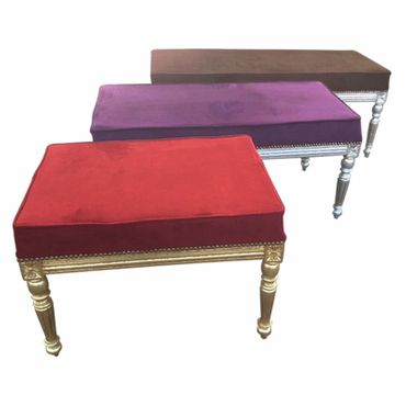 Unique Baroque Style Bench with Velvet Cushions and Carved Wood Frame – image 2
