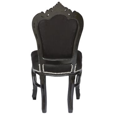 Amazing Set of 4 Dining Room Chairs Baroque Gothic Black Velvet Solid Wood Frame – image 5