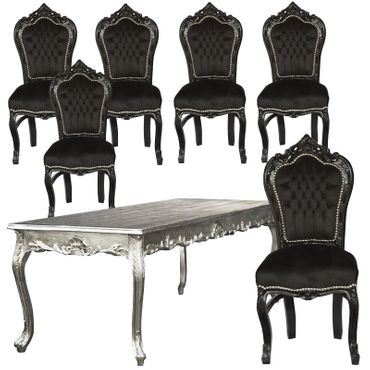 Black Velvet and Wood Extravagant Dining Room set 6 Chairs – image 1