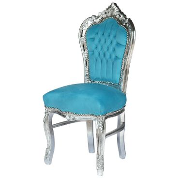 80x80 Baroque Style Silver Table and 4 Chairs with Bleu Velvet Cushions – image 3