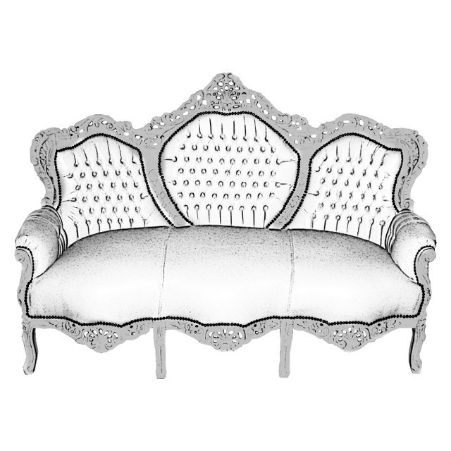retro barock sofa kunstleder 3 sitzer weiss silber vintage couch. Black Bedroom Furniture Sets. Home Design Ideas