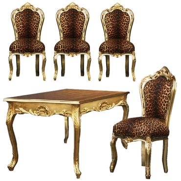 Exotic Dining Room Ensemble Leopard Print 4 Baroque Style Chair Golden Table – image 1