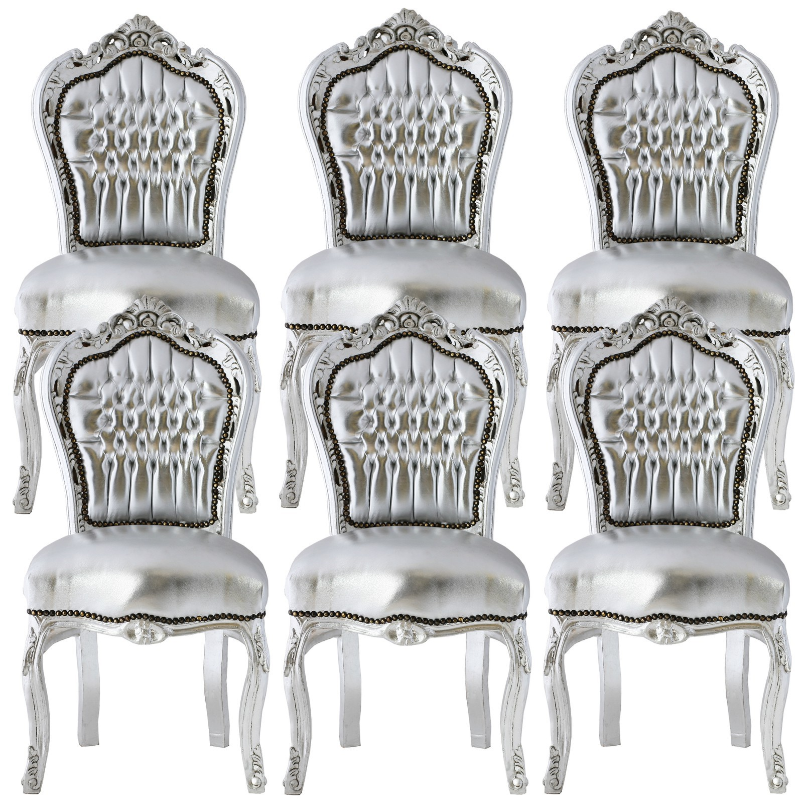 Luxurious Silver Dining Room Chair Set Baroque Furniture luxury-pure ...