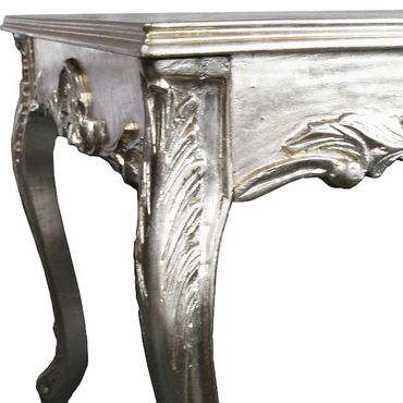 Extravagant Dining Room Set Silver Leatherette Hand Crafted Solid Wood – image 6