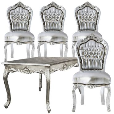 Cute 80x80 Baroque Style Silver Dining Table + 4 Matching Chairs – image 1