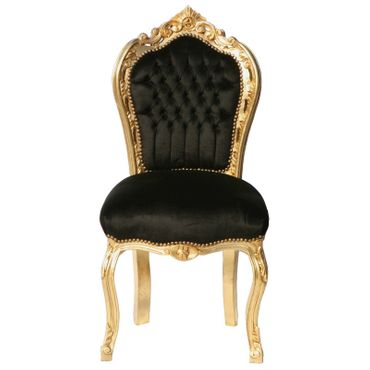 Beautiful Gold Wood Frame and Black Velvet Dining Room Chairs Set of 4 – image 4