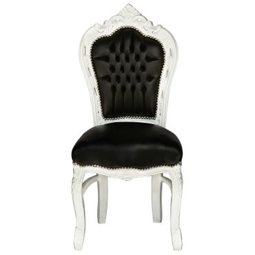 4 Chair Baroque Dining Room Set White Wood Black Leatherette – image 6
