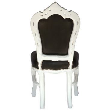 4 Chair Baroque Dining Room Set White Wood Black Leatherette – image 4