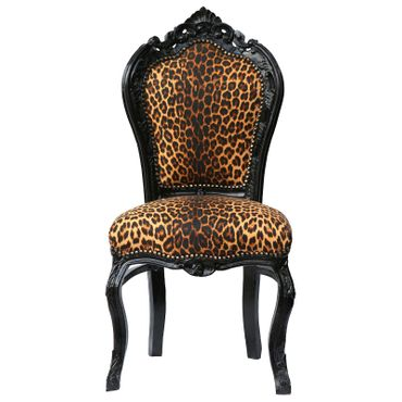 Couple of Beautiful Leopard Print Solid Wood Hand Crafted Dining Room Chairs – image 2