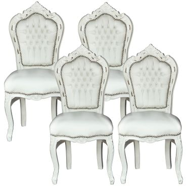 Élégant set of White Baroque Design Dining Room Chairs Leatherette Cushions