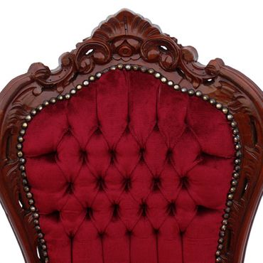 Beautiful Brown Wood Red Velvet Chairs set of 6 Baroque Furniture – image 4