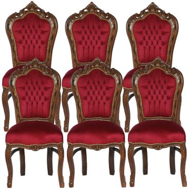 Beautiful Brown Wood Red Velvet Chairs set of 6 Baroque Furniture – image 1