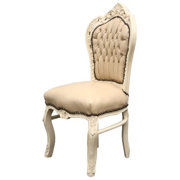 Beautiful set of 6 Chairs Baroque Style Dining Beige Leatherette Solid Wood – image 3
