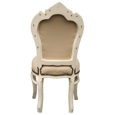 Beautiful set of 6 Chairs Baroque Style Dining Beige Leatherette Solid Wood – image 4