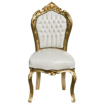 6 Chairs made of White Leatherette and Gold Wood Dining Room Furniture – image 2