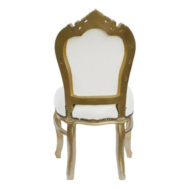 6 Chairs made of White Leatherette and Gold Wood Dining Room Furniture – image 3