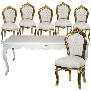 Beautiful White Baroque Hand Crafted Table + 6 White Leatherette Gold Frame Chairs – image 1