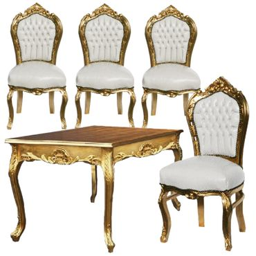 80x80 Gold Table + 4 Beautiful Gold Wooden and White Leatherette Chairs – image 1