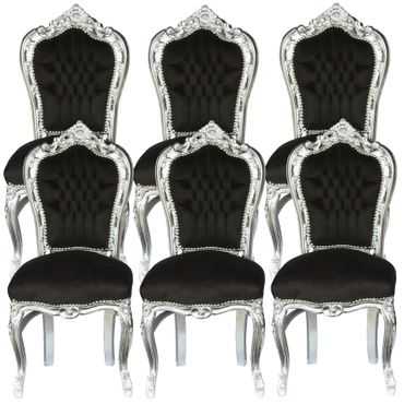6 Chairs Black & Silver Baroque Table Dining Room Furniture Home Decor Elegance – image 1