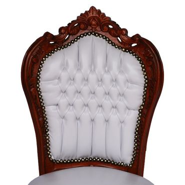Couple of Brown Wood  and White leatherette Hand Crafted Baroque Dining Room Chair – image 5