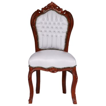 Elegant Baroque White Table and 6 Matching Chairs Brown Solid Wood White Leatherette – image 2