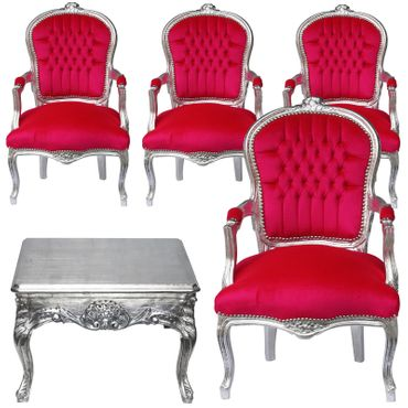 Majestic Dining Room Set 4 Chairs Pink Velvet and Silver Wood Table – image 1