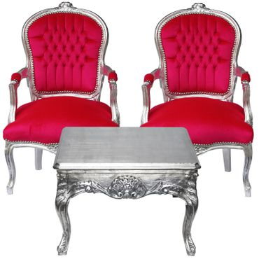 Cute Royal Style Baroque Dining Room Set 2 Armchairs Pink Velvet Silver Wood Table – image 1
