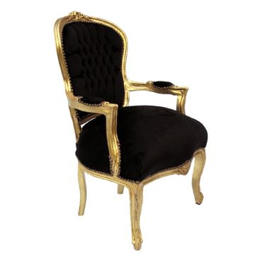 Classic Set of 4 Baroque Armchair + Golden Table Black Velvet – image 3
