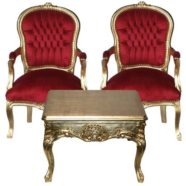 Salon Ensemble Gold Coffee Table + 2 Matching Chairs Deep Red Velvet – image 1