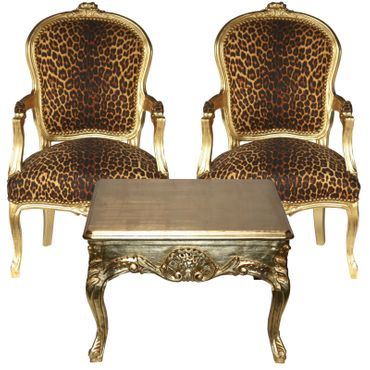 Wild Cat ArmchairSalon Furniture set 2 chairs + Coffee Table – image 1