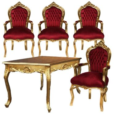 Complete Luxurious Dining Room Set 4 Armchair Red Velvet + Table – image 1