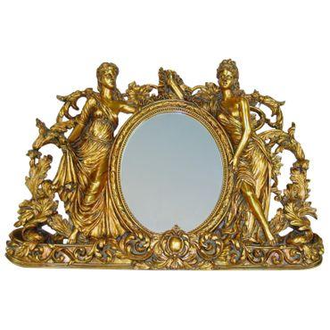 Beautiful Mirror Gold Frame Detailed Women Baroque Decor