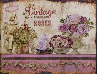 Vintage roses tin sign decoration home collection 9.8x13in