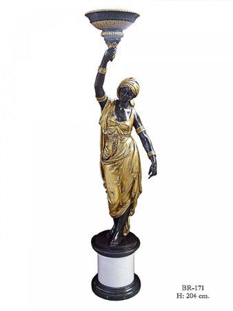 Beautiful two tone Bronze Statue Women Gold & Black 204cm