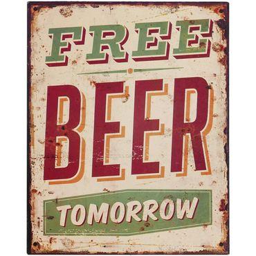 Decoration sign free beer tomorrow sign bar pub retro style