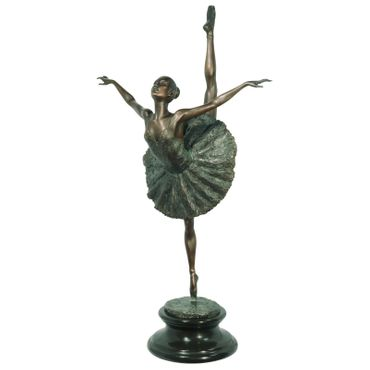 Bronze Figure of Ballerina with Leg in the Air in Tutu – image 1